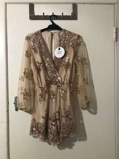 BNWT Rose gold sequence play suit