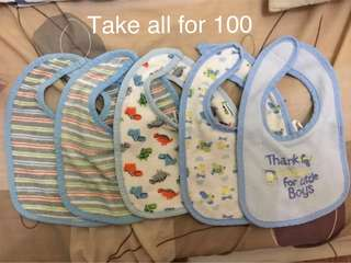 Baby bibs, receiving blanket, shorts