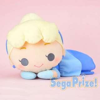 40CM Cute BIG Japan Disney Sega Dreamy Princess Cinderella Chibi Face Cuddly Laying Pastal Color Soft Plush Doll        [Toreba]