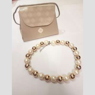 (BN) Pearl and Gold Baubles Necklace