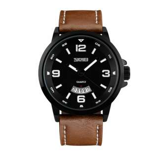 SKMEI fashion mens watch w/date leather waterproof 10M 6months warranty Japan machine