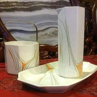 Vintage Japanese porcelain  Akura 3pcs Tray Vase Bucket With Brass Handle