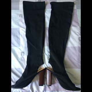 Over the Knee Stretch Open Toe Block Heels Boots