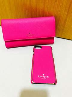 Authentic Kate spade iphone cover plus Long wallet