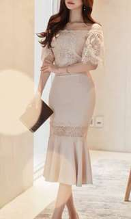 Apricot off shoulder elegant Dress