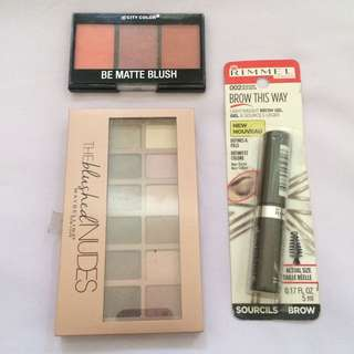 Paket C 200rb 1. Eyeshadow maybelline (cuma pakai 1 warna itupun sekali) 2. Rimmel maskara alis shade medium brown (99%) 3. City color blush on (95%)