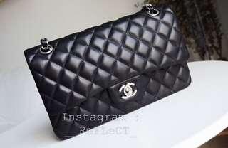 Chanel Classic Lambskin Flap Bag Silver Chain