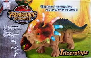 Dinosaurs(triceratops)walking w/ lights & realistic sounds