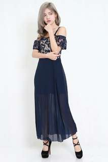 Embroidery off-shoulder Maxi dress (Navy)