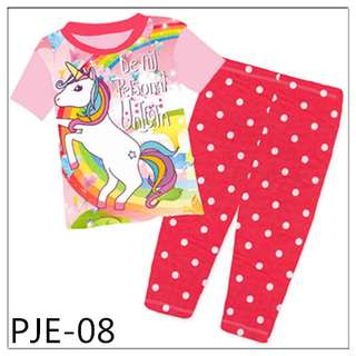 8Y-12Y Unicorn girl short sleeve Pajamas