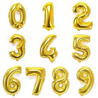 Numbers and Letters Gold Balloon