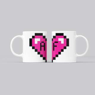 Pixel Love Couple custom-made mugs