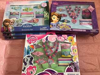 Instock limited set only kids hair accessories set brand new 18pcs set (frozen/Sofia/My Little Pony)