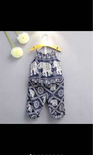 Kid girl infant summer top pants set