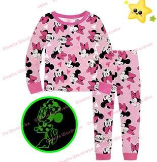 Minnie Mouse Pyjamas set glowing the dark