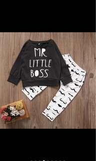 Baby Boy infant newborn toddler long sleeved top pants set kid