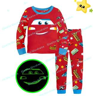 Kids Pyjamas lightning McQueen pyjamas glowing the dark