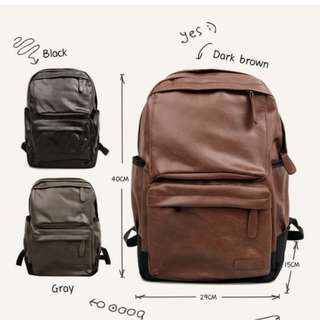 ORIGINAL Korean mens backpack Quality PU leather #6402
