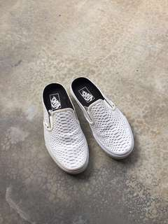 Vans White Embossed Python Classic Slip-on Mule