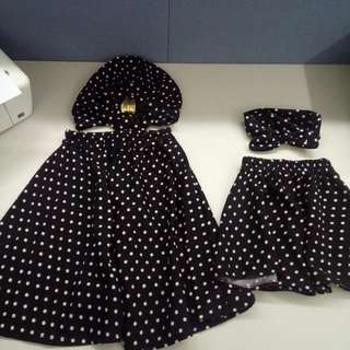 Twinning Mommy & Baby Polka Skirt with head dress