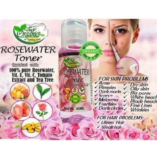 Rosewater TONER with vitamins , tomato extract and tea trea.