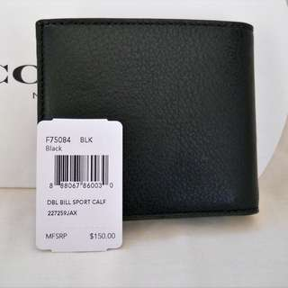 Coach Double Billfod Sport Calf Leather Wallet Mens