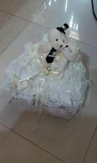 白色情侶Bear 介子枕