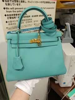 Hermes kelly 25 blue atoll