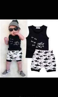 Baby Boy Singlet And Pants Shorts Shark Black White Kids Children Infant Newborn Clothes [PO]