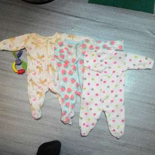 Combo baby Sleepsuit Girl 0-3m (3pcs)