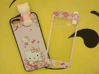 Hello kitty case with tempered for iphone7