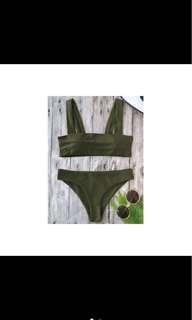 Army Green wide strap Bandeau Bikini Set