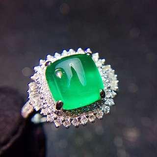 18K白金 天然祖母綠鑽石戒指