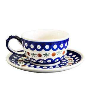 """Hand-decorated coffee tea cup with saucer, classic """"mosquito"""" pattern, vol. 0.2l"""