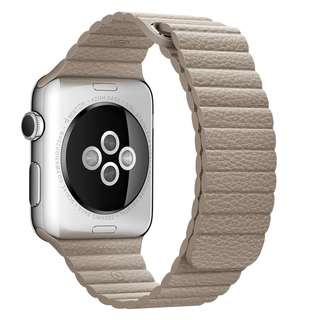 順豐包郵 杏色回環磁石錶帶 Free SF Express Apple Leather Strap Beige Magnetic Buckle Replacement Watch Band Loop 38mm or 42mm