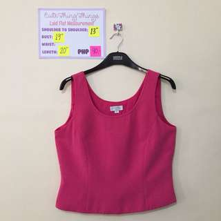 Hot Pink Sleeveless Top with Stitching Accent