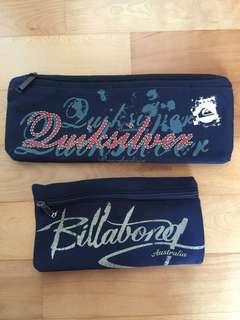 Quicksilver and billabong pencil cases