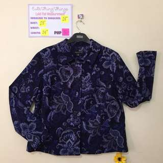 Briggs New York Dark Blue Floral Blazer - missing 1 button