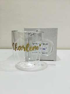 Pre-order mother day gift - Name personalised double wall glass