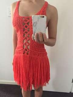 NWT Coral Tassel Bodycon Beach Dress
