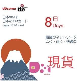 8 Days Docomo JAPAN SIM Unlimited data - 4G