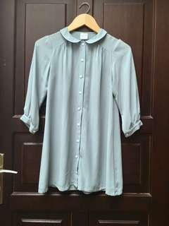 Preloved Shirt Dress ( Soft Tosca )