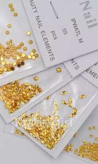 Gold metal nail art studs