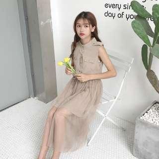 全新 女裝 Q562113 夏裝中長款Polo領網紗拼接無袖背心裙連衣裙a字顯瘦長裙