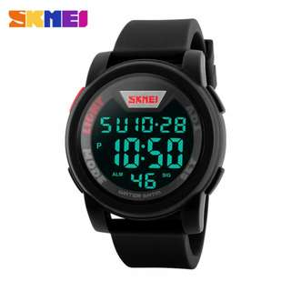 SKMEI fashion mens LED watch digital display silicone strap 6months warranty Japan machine