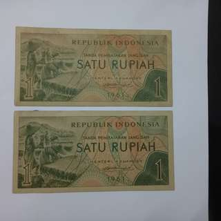 1 rupiah 1961 indonesia notes unc