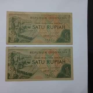 1 rupiah 1961 indonesia notes unc