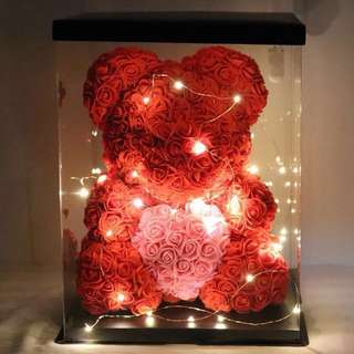 Rose Bear with Heart and LED light