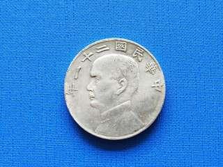 中华民国二十一年背一元银币 39mm 20.3g