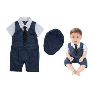 Baby Gentleman Tuxedo Romper with Tie and Cap - Sir Charles